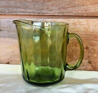 VTG MCM 48oz (6-cup) Avocado Olive Green Glass Pitcher Elongated Thumbprints