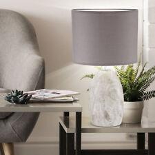 Lampe de table céramique ovale salon éclairage textile lecture gris clair marron