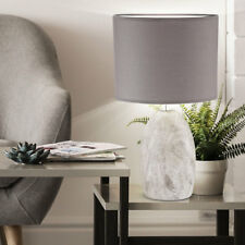 Keramik Tisch Lampe oval Wohn Zimmer Beleuchtung Textil Lese Leuchte grau braun