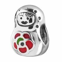 Materia 925 Silber Beads Puppe Matrjoschka Element Russland -  für Beads Armband
