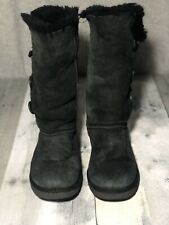 UGG AUSTRALIA BAILEY 3 BUTTON BLACK TALL SUEDE SHEARLING BOOTS SIZE 7