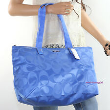 NWT Coach Signature Nylon Packable Weekender Tote Shoulder Bag F77321 Cool Blue