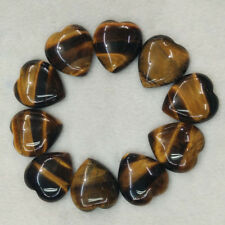 Wholesale 10pcs/lot Natural tiger's stone heart Cab CABOCHON Stone Beads 25mm