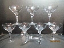 "Crystal Cut Notched Stem Etched Cut Rare Rose Design 8 Champagne Goblets 5 1/8"""