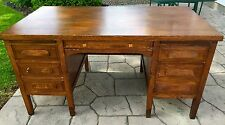 Vintage 1940s Oak Industrial or Teachers Desk