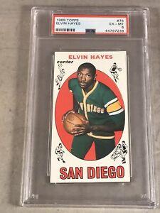 1969 TOPPS #75 ELVIN HAYES PSA EX-MT 6 HOF RC ROOKIE CARD