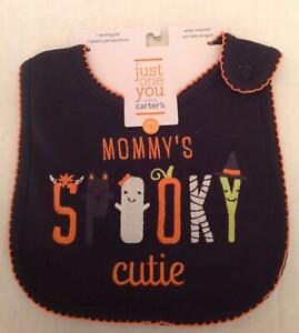 Carter's Halloween Baby Bib Infant Black Orange Mommy's Spooky Cutie Cotton 071