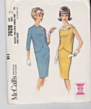 1960's Vintage McCall's Pattern 7628 Misses' 2 Piece Dress Ring Scarf Size 12