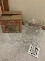 Vintage Design Glass Punch Bowl Set Anchorglass Anchor Hocking Harvest Grape Box