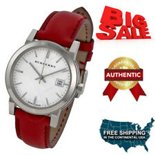 NEW Authentic Burberry Check Stamped Red Leather Ladies Watch BU9129 ON SALE NOW