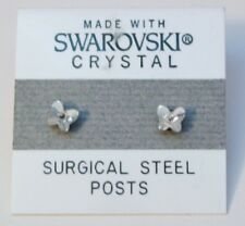 Silver Butterfly Stud Earrings 4mm Small Crystal Made with SWAROVSKI ELEMENTS