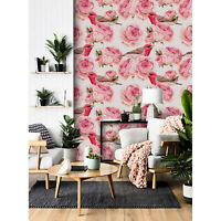 Floral birds Removable wallpaper pink and white wall mural non woven