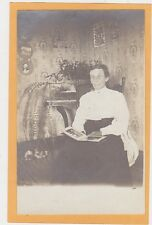 Real Photo Postcard RPPC - Interior Woman with Photo Album and Ferns