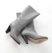 Chloe Designer Damen Stiefel Boots Grau Taupe 2 Leder Gr 39 Wie Neu 1x getragen