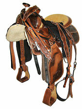 "WESTERN SADDLE PKG 'THSL' FLORAL CARVED-ANTIQUE OIL BROWN 16"" GOLDEN SEAT (1073)"