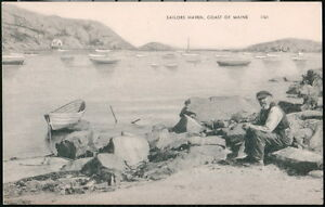 COAST OF MAINE ME Sailors Haven Fisherman & Boats Vintage B&W Old 1952 Postcard