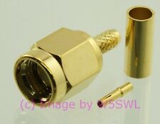 Reverse Polarity SMA Male Crimp Connector RG-174 LMR100 Gold 2 PACK - by W5SWL ®