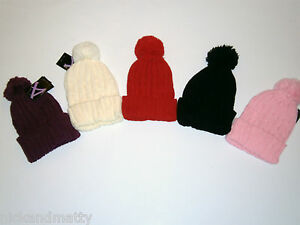 ADULT-TEENAGE SIZE CABLE KNIT BOBBLE HAT