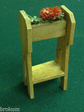 Dollhouse Miniature Wood Plant Stand w/ Strawflower Antique Furniture ~Germany