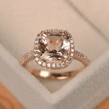 1.50 Ct Cushion Cut Morganite & Diamond Halo Engagement Ring 14K Rose Gold Over