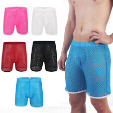 Fashion Men's Sheer grid Shorts Pants Loose Breathable Short Pants Homewear S-XL