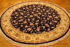 Tabriz (84 x 84 in) Handmade Rugs 7 x 7 Black Wool & Silk Round Rug