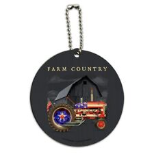 Farm Tractor Country USA American Flag Barn Farming Round Wood Luggage ID Tag