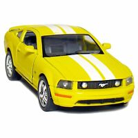 """New 5"""" Kinsmart 2006 Ford Mustang GT Stripes diecast model toy car 1:38 Yellow"""