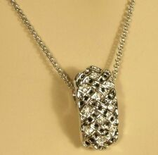"White Gold Black & Clear Crystals With 17"" Chain 2"" ext. Pendant Necklace 18kgp"