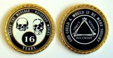 """Alcoholics Anonymous 16 Yr. Skulls and Bones Rope Edge Sobriety Coin Chip 1 3/4"""""""