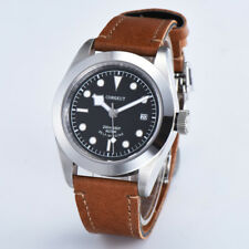 41mm corgeut black dial Sapphire Glass brown strap miyota Automatic mens Watch