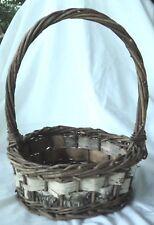 Birch Bark Woven Trim  Basket Planter Centerpiece Rustic