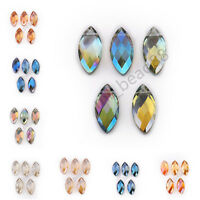 10pcs Charms Flat Teardrop Faceted Glass Crystal Pendant Spacer Beads 22x7mm