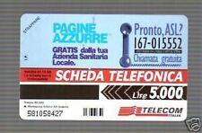 PUGLIA_SANITARIA_CARTA TELEFONICA DA COLLEZIONE_PAGINE AZZURRE_MAI USATA_D'EPOCA