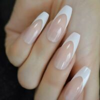 Long Coffin French Tip Fur Color Nude Faux Ongles White Smile Line Decoration On
