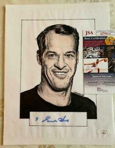 Autographed GORDIE HOWE Original Art Work 81/2  X 11 JSA