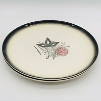 2 Vintage Stetson China Dinner Plates Pink & Gray Thistle Ovenproof Handpainted