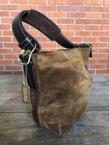 Coach Legacy Brown Suede Bucket Shoulder Bag Boho Vintage E2S-9187