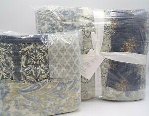 Pottery Barn Delaney Handcrafted Patchwork Cotton Quilt & Sham Blue #8559