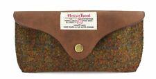 Custodia portaocchiali in pelle con autentica Harris Tweed in un design Olive & Tan