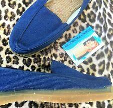 French 1950s Men Moccasins Espadrilles Slip-On Shoes~Blue Denim~Crepe Sole~Nib~8