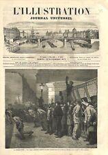 Train Parlementaire Pont de l'Europe Gare Saint-Lazare Paris GRAVURE PRINT 1873