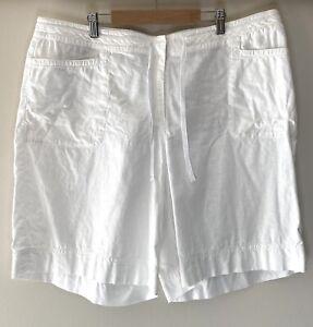 J JILL Linen Cotton White Drawstring Shorts Size 18 NWOT Pockets