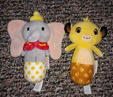 Hallmark Itty Bittys Baby Plush Disney DUMBO & SIMBA Elephant Rattle Doll LOT