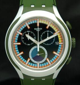 MOSS SWATCH IRONY CHRONO XLITE Aluminum Watch Chronograph YYS4009 New Battery