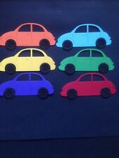 6 Multi Coloured Car diecuts - Great for scrapbooking/cardmaking