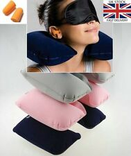 Travel Head Neck Rest Pillow Air Cushion Inflatable Support + Ear Plug eye Cover