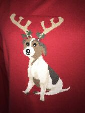 JOULES WOMENS MIRANDA CHRISTMAS FESTIVE JUMPER RED YULE DOG REINDEER SIZE 14 NEW