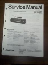 Quasar Service Manual for the GX3638 Radio Cassette Recorder/Boombox~Original