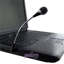 Flexible 3.5mm Jack Mini Microphone Mic For PC Laptop Desktop Skype Yahoo Black